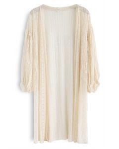 Somewhere to Love Lace Longline Kimono in Cream