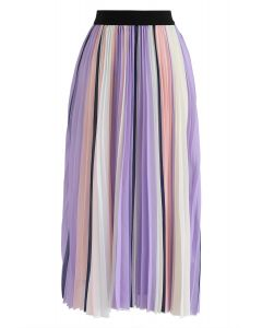 Contrasted Color Stripes Pleated Midi Skirt in Purple