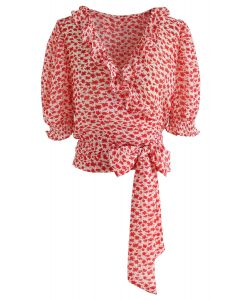 Tie Up a Bowknot Floret Wrapped Top in Red