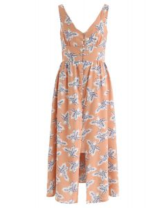 Palm Relaxed Cutout Back Cami Dress in Peach