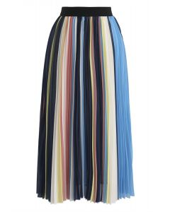 Contrasted Color Stripes Pleated Midi Skirt in Blue