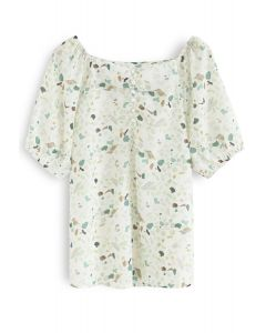 Magic of Love Square Neck Floral Top in Mint