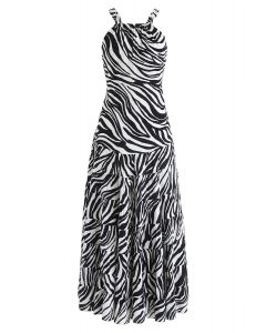Zebra-Stripe Open Back Maxi Dress in White