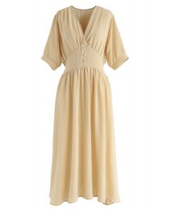 You Wanna Be V-Neck Dress in Mustard