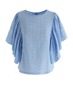 Swinging Frilling Eyelet Embroidered Top in Blue