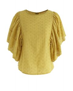 Swinging Frilling Eyelet Embroidered Top in Yellow