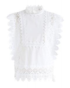 Dating in Summer Crochet Sleeveless Top in White