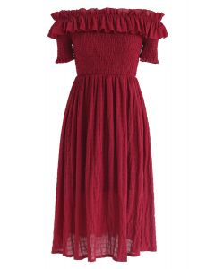 Sunday Afternoon Off-Shoulder Pleated Dress in Red