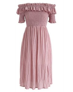 Sunday Afternoon Off-Shoulder Pleated Dress in Pink