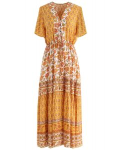 Boho Bomshell Floral Maxi Dress in Mustard