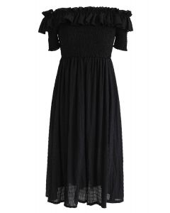 Sunday Afternoon Off-Shoulder Pleated Dress in Black