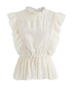 Tough Love Embroidered Sleeveless Top in Cream