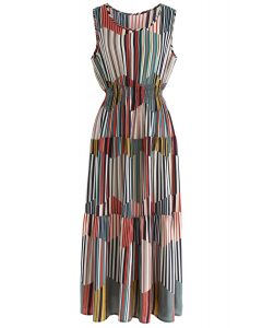 Your are My First Colored Stripes Sleeveless Dress