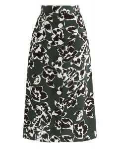 Floral Ting A-Line Midi Skirt in Dark Green