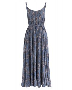 Passion for Life Floral Cami Dress in Dusty Blue