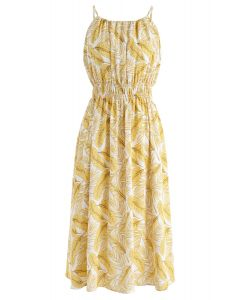 Field of Palm Halter Neck Midi Dress in Yellow