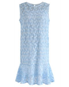 Brand New Love Crochet Sleeveless Dress in Blue