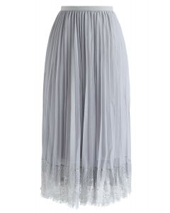 Last Dance Pleated Lace Mesh Skirt in Grey