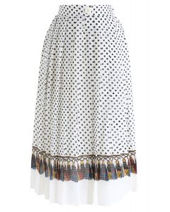 Love Yourself Pleated Dots Midi Skirt in Cream