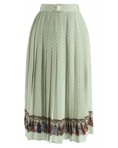 Love Yourself Pleated Dots Midi Skirt in Green