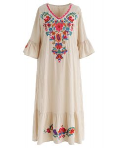 Stay Here Forever Boho Embroidery Dress in Linen