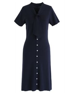 Something Real Knit Midi Dress in Navy