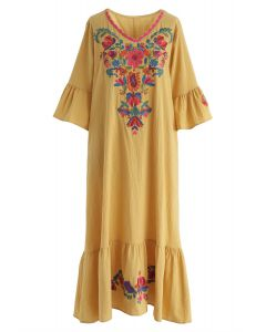 Stay Here Forever Boho Embroidery Dress in Yellow