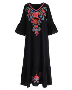 Stay Here Forever Boho Embroidery Dress in Black
