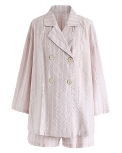 Somewhere Stripe Shirt and Shorts Set in Pink