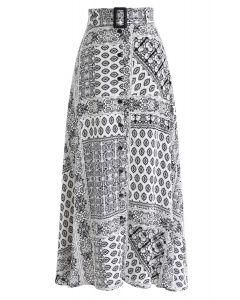 Boho Beach Floral Button Down Skirt in White