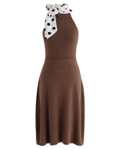 Tie a Bow Polka Dots Knit Dress in Caramel