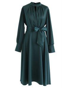 Grab the Spotlight Bowknot Satin Dress in Green