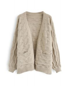New Journey Open Front Knit Cardigan in Taupe