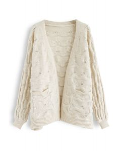 New Journey Open Front Knit Cardigan in Cream