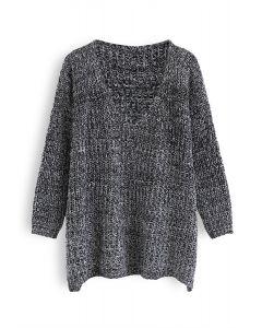 In My World V-Neck Knit Sweater in Black
