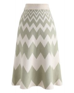 Zigzag Knit A-Line Midi Skirt in Green