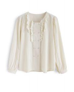Ruffle Decor Button Down Shirt