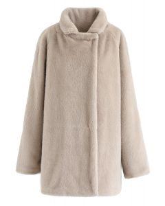 Hidden Stud Button Faux Fur Coat