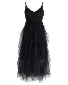 Knit Ruffled Mesh Cami Dress in Black