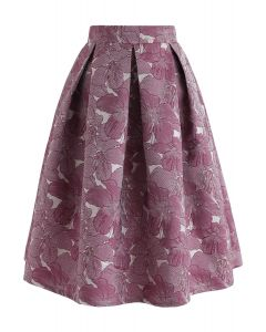 Floral Jacquard Pleated Midi Skirt