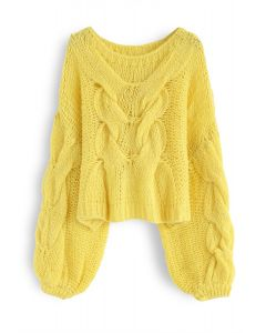 Hand-Knit Puff Sleeves Sweater in Yellow
