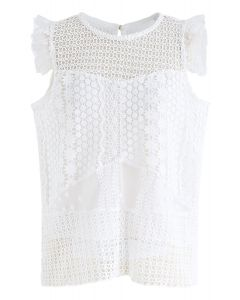 Floral Eyelet Crochet Sleeveless Top in White