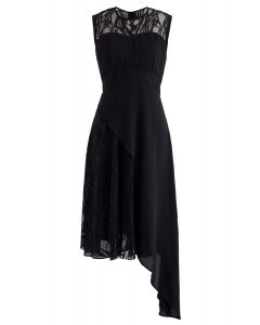Lace Chiffon Asymmetric Sleeveless Dress in Black