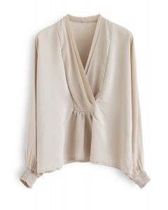 Batwing Sleeves Wrapped Top in Light Tan