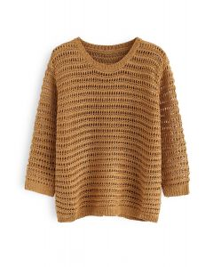 Hollow Out Round Neck Knit Sweater in Caramel