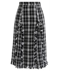 Plaid Tasseled Tweed A-Line Midi Skirt
