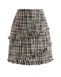 Tasseled Tweed Mini Bud Skirt
