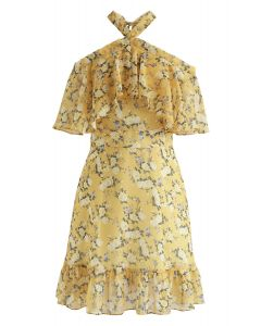 Yellow Peony Print Halter Neck Ruffle Dress