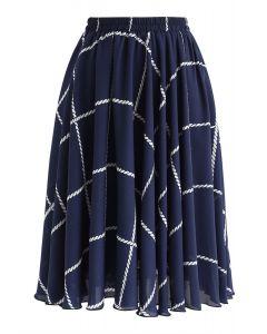 Check Pattern A-Line Chiffon Skirt