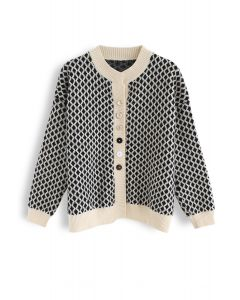 Contrast Diamond Pattern Knit Button Down Cardigan